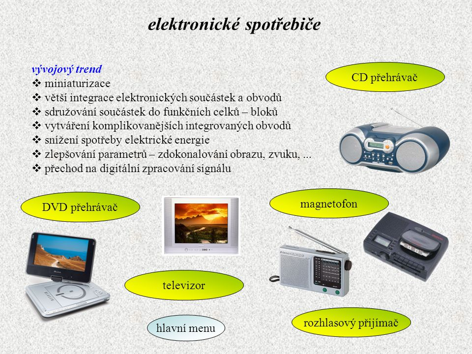 elektronické spotřebiče vývojový trend  miniaturizace  větší integrace elektronických součástek a obvodů  sdružování součástek do funkčních celků –