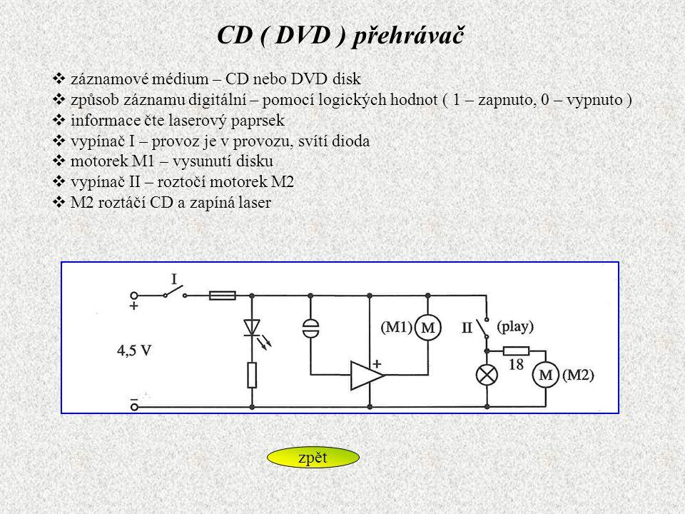CD ( DVD ) přehrávač  záznamové médium – CD nebo DVD disk  způsob záznamu digitální – pomocí logických hodnot ( 1 – zapnuto, 0 – vypnuto )  informa