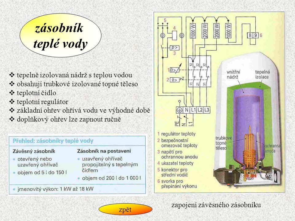 zásobník teplé vody  tepelně izolovaná nádrž s teplou vodou  obsahují trubkové izolované topné těleso  teplotní čidlo  teplotní regulátor  základ