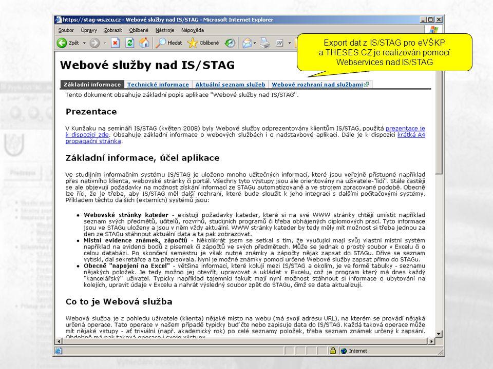 Export dat z IS/STAG pro eVŠKP a THESES.CZ je realizován pomocí Webservices nad IS/STAG