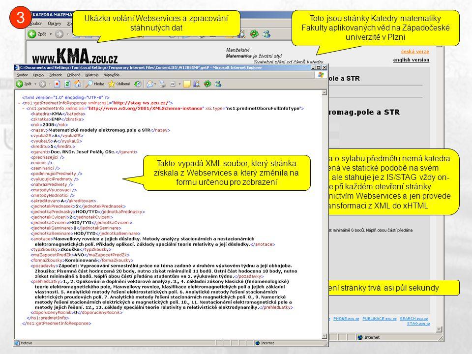 Toto jsou stránky Katedry matematiky Fakulty aplikovaných věd na Západočeské univerzitě v Plzni Tato data o sylabu předmětu nemá katedra uložená ve statické podobě na svém serveru, ale stahuje je z IS/STAG vždy on- line při každém otevření stránky prostřednictvím Webservices a jen provede transformaci z XML do xHTML Načtení stránky trvá asi půl sekundy Takto vypadá XML soubor, který stránka získala z Webservices a který změnila na formu určenou pro zobrazení 3 Ukázka volání Webservices a zpracování stáhnutých dat