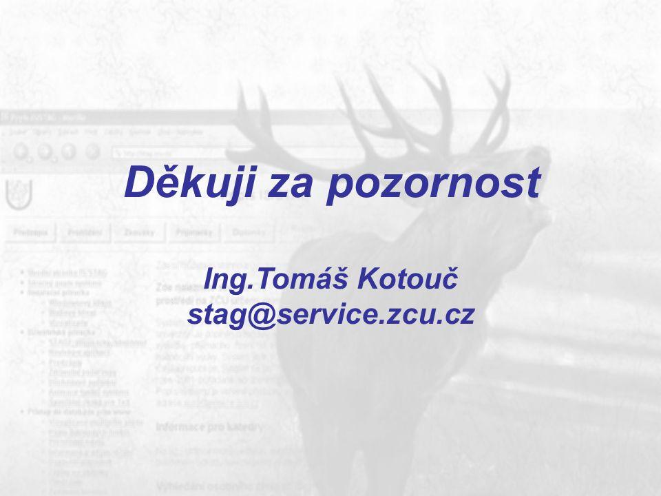 Děkuji za pozornost Ing.Tomáš Kotouč stag@service.zcu.cz