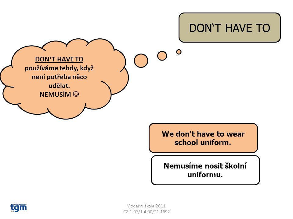 Moderní škola 2011, CZ.1.07/1.4.00/21.1692 DON'T HAVE TO DON'T HAVE TO používáme tehdy, když není potřeba něco udělat.