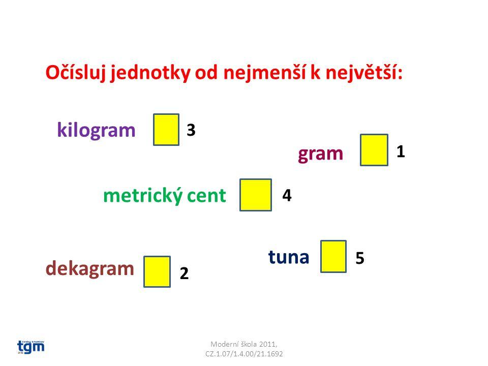 Moderní škola 2011, CZ.1.07/1.4.00/21.1692 Očísluj jednotky od nejmenší k největší: kilogram gram metrický cent dekagram tuna 1 2 3 4 5