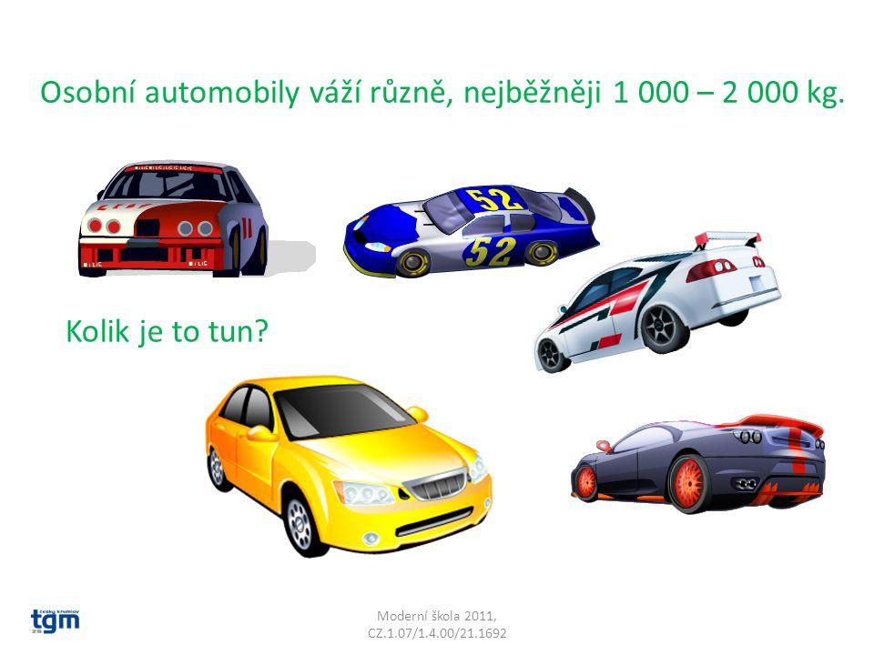 Moderní škola 2011, CZ.1.07/1.4.00/21.1692 Osobní automobily váží různě, nejběžněji 1 000 – 2 000 kg. Kolik je to tun?