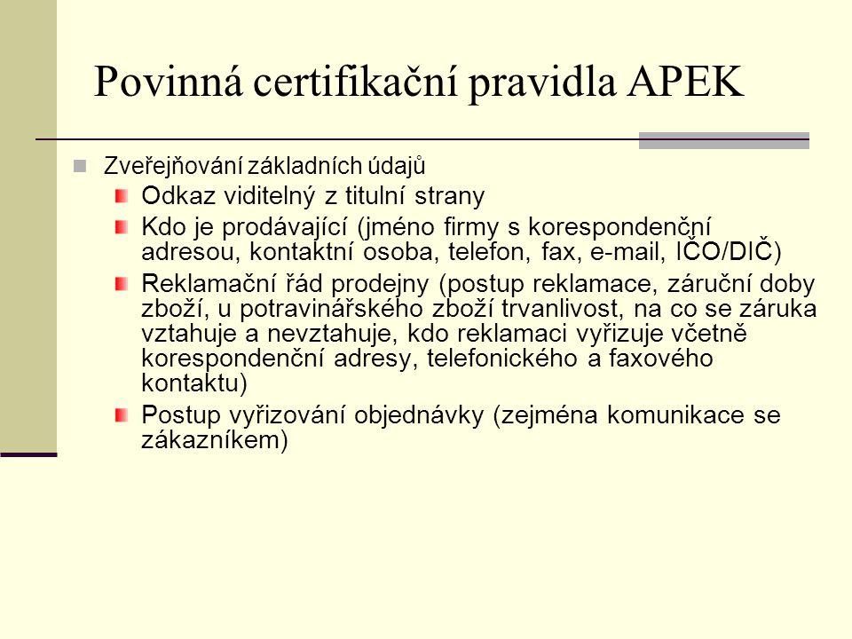 Povinná certifikační pravidla APEK Zveřejňování základních údajů Odkaz viditelný z titulní strany Kdo je prodávající (jméno firmy s korespondenční adr