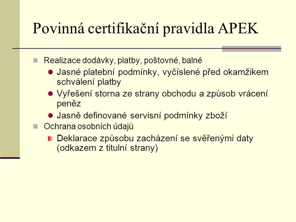 Povinná certifikační pravidla APEK Realizace dodávky, platby, poštovné, balné Jasné platební podmínky, vyčíslené před okamžikem schválení platby Vyřeš
