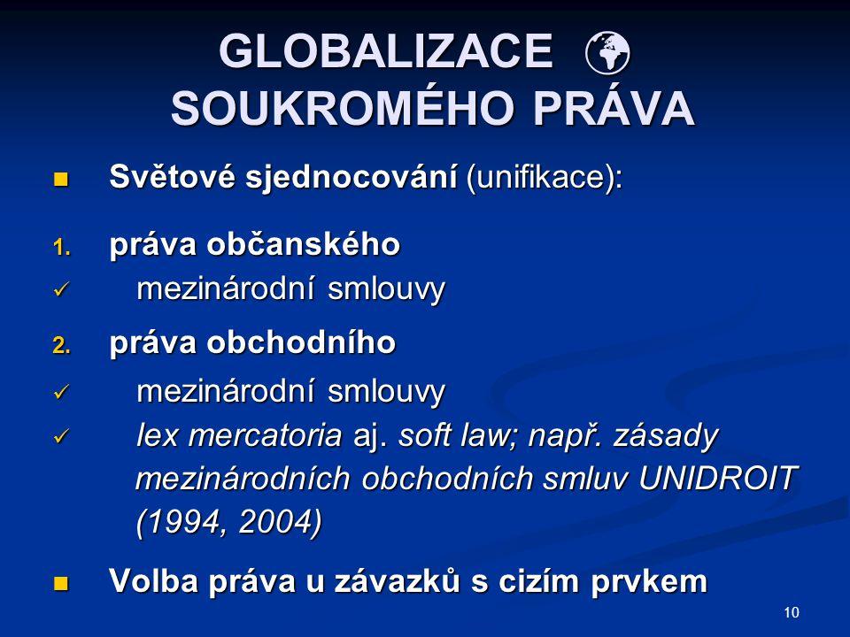10 GLOBALIZACE SOUKROMÉHO PRÁVA Světové sjednocování (unifikace): Světové sjednocování (unifikace): 1. práva občanského mezinárodní smlouvy mezinárodn