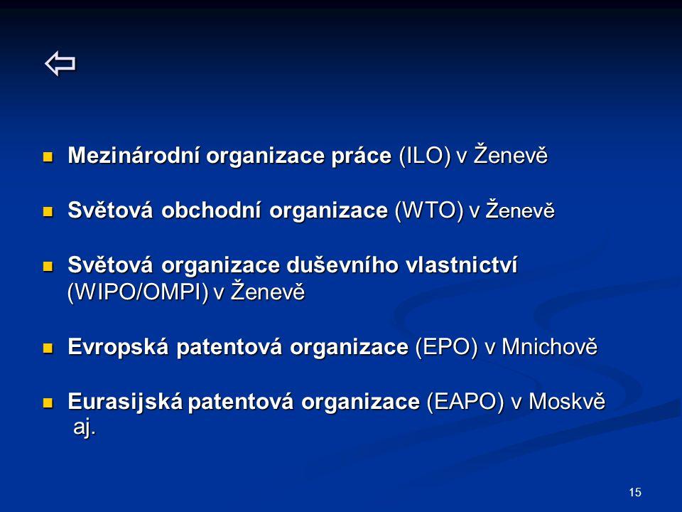 15  Mezinárodní organizace práce (ILO) v Ženevě Mezinárodní organizace práce (ILO) v Ženevě Světová obchodní organizace (WTO) v Ženevě Světová obchodní organizace (WTO) v Ženevě Světová organizace duševního vlastnictví Světová organizace duševního vlastnictví (WIPO/OMPI) v Ženevě (WIPO/OMPI) v Ženevě Evropská patentová organizace (EPO) v Mnichově Evropská patentová organizace (EPO) v Mnichově Eurasijská patentová organizace (EAPO) v Moskvě Eurasijská patentová organizace (EAPO) v Moskvě aj.