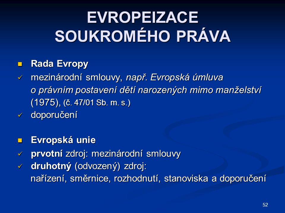 52 EVROPEIZACE SOUKROMÉHO PRÁVA Rada Evropy Rada Evropy mezinárodní smlouvy, např. Evropská úmluva mezinárodní smlouvy, např. Evropská úmluva o právní