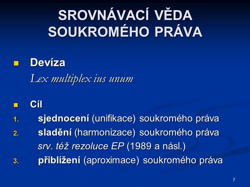 8 SJEDNOCOVÁNÍ SOUKROMÉHO PRÁVA Sjednocování právních norem Sjednocování právních norem Sjednocování judikatury Sjednocování judikatury Sjednocování soukromoprávních Sjednocování soukromoprávních doktrín doktrín