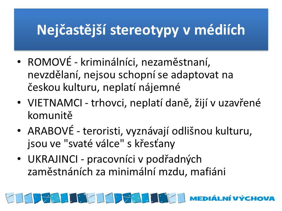 Nejčastější stereotypy v médiích ROMOVÉ - kriminálníci, nezaměstnaní, nevzdělaní, nejsou schopní se adaptovat na českou kulturu, neplatí nájemné VIETN
