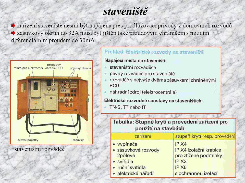staveniště zařízení staveniště nesmí být napájena přes prodlužovací přívody z domovních rozvodů zásuvkový okruh do 32A musí být jištěn také proudovým