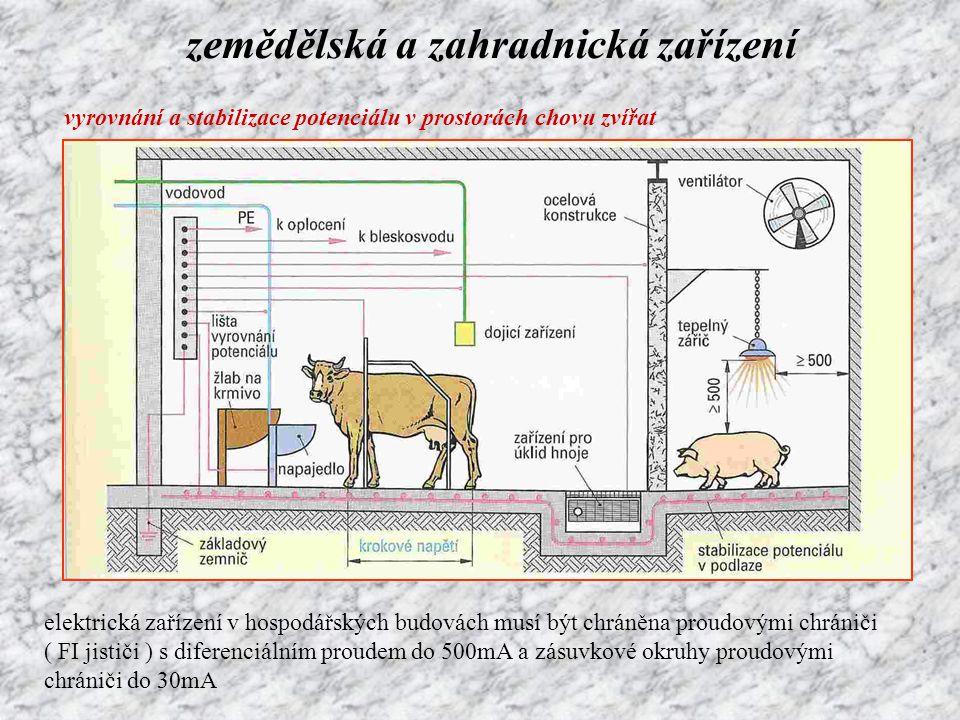 zemědělská a zahradnická zařízení vyrovnání a stabilizace potenciálu v prostorách chovu zvířat elektrická zařízení v hospodářských budovách musí být c