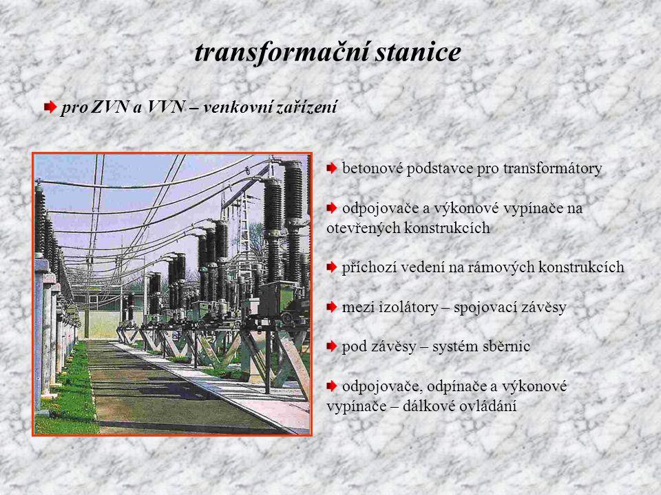 transformační stanice pro VN – uzavřené prostory z důvodu bezpečnosti venkovní přípojka – transformátory na stožárech kabelová přípojka – kompaktní transformátorové stanice zařízení instalována do skříní nutné odvětrávání kvůli chlazení pod olejovým transformátorem – musí být olejotěsná vana vypínače uzavřeny v nádobách s SF 6 kompletní zapouzdření – vyloučen dotyk obsluhy