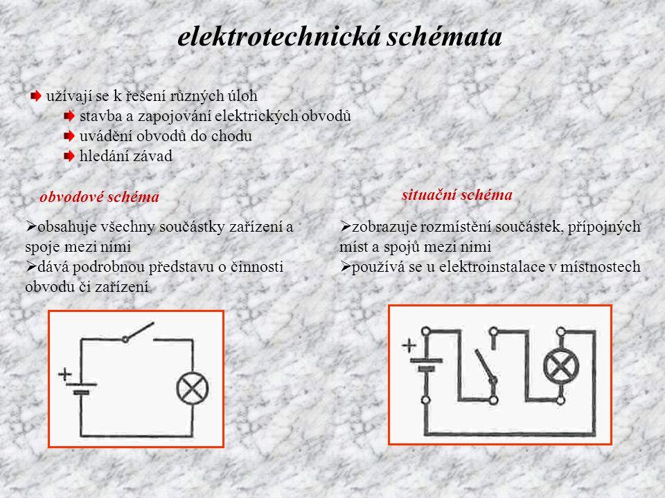 elektrotechnická schémata užívají se k řešení různých úloh stavba a zapojování elektrických obvodů uvádění obvodů do chodu hledání závad obvodové sché