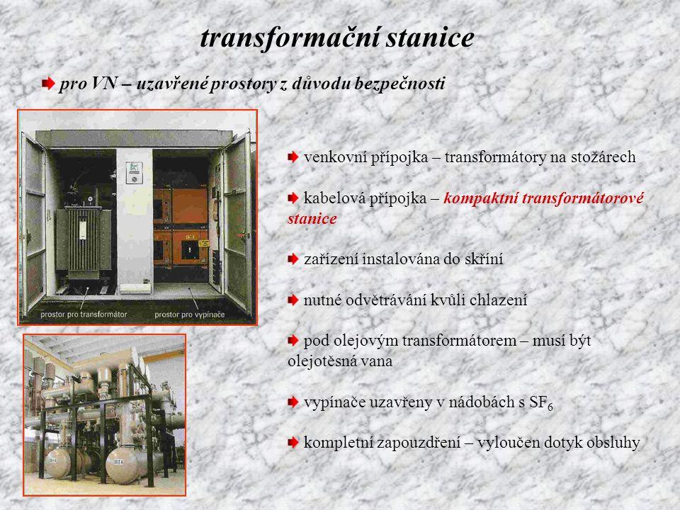 transformační stanice pro VN – uzavřené prostory z důvodu bezpečnosti venkovní přípojka – transformátory na stožárech kabelová přípojka – kompaktní tr