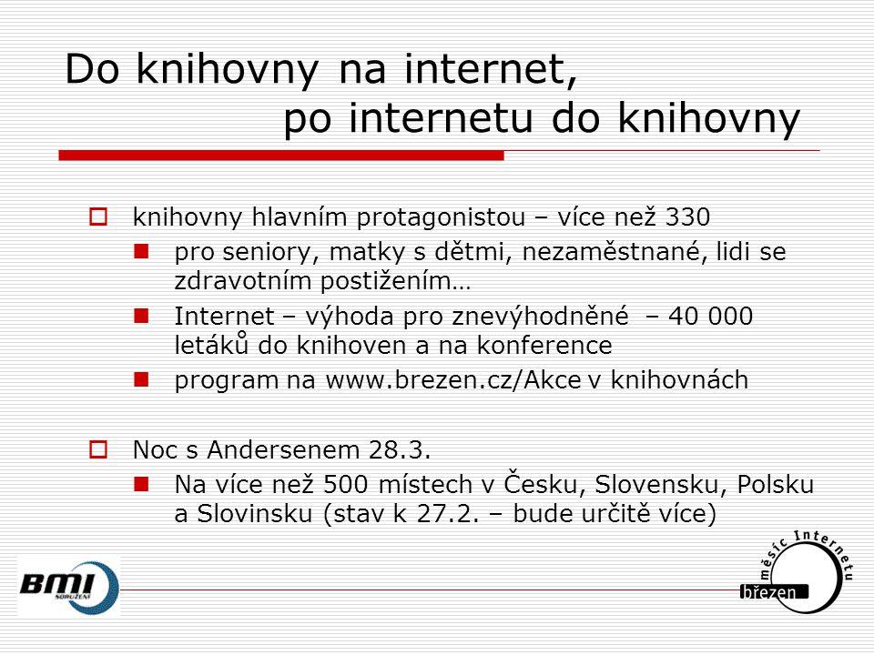 Tipy z letáku Leták pro knihovny vytisklo MV ČR – 40 000 ks  Helpnet (www.helpnet.cz)  Alfabet (www.alfabet.cz)  Počítače proti bariérám (www.kontobariery.cz)  Informační portál Ligy za práva vozíčkářů (www.ligavozic.cz/ip)  InternetPoradna (www.iporadna.cz)  Integrovaný portál MPSV (portal.mpsv.cz)  Informační kiosky MPSV  Portál Ministerstva vnitra ČR (www.mvcr.cz/azyl)  Zlatá linka seniorů (www.elpida.cz)  Romové v České republice (www.romove.cz)  SaferInternet.cz (www.saferinternet.cz)