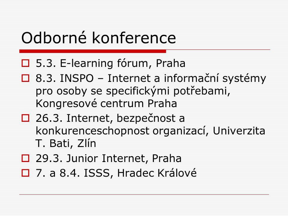 Odborné konference  5.3. E-learning fórum, Praha  8.3. INSPO – Internet a informační systémy pro osoby se specifickými potřebami, Kongresové centrum