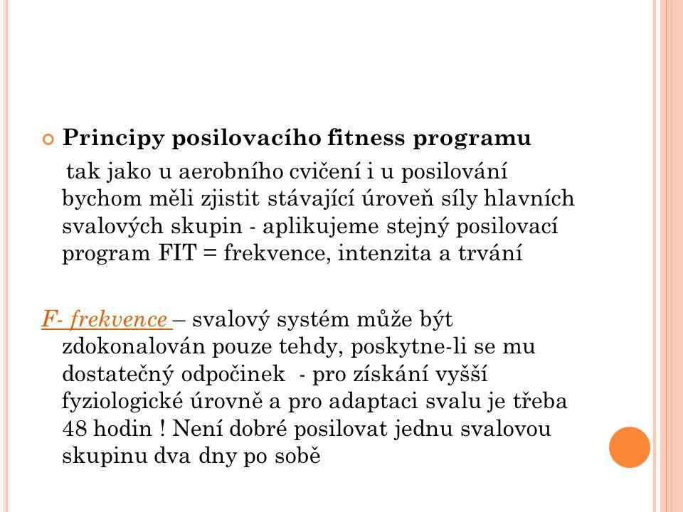 Principy posilovacího fitness programu tak jako u aerobního cvičení i u posilování bychom měli zjistit stávající úroveň síly hlavních svalových skupin - aplikujeme stejný posilovací program FIT = frekvence, intenzita a trvání F- frekvence – svalový systém může být zdokonalován pouze tehdy, poskytne-li se mu dostatečný odpočinek - pro získání vyšší fyziologické úrovně a pro adaptaci svalu je třeba 48 hodin .