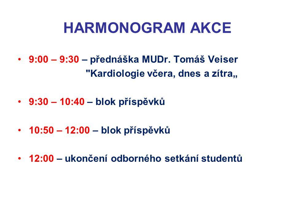 HARMONOGRAM AKCE 9:00 – 9:30 – přednáška MUDr.