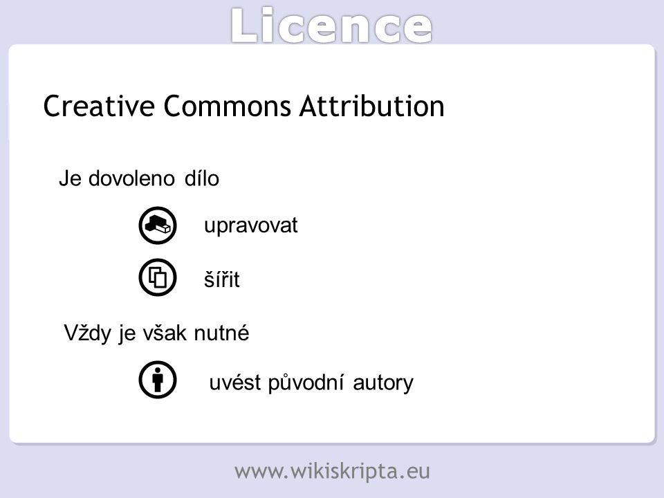 Creative Commons Attribution Je dovoleno dílo upravovat šířit Vždy je však nutné uvést původní autory www.wikiskripta.eu