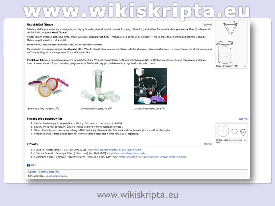 """""""Články WikiSkript připomínají podkapitoly v učebnici Snadno je lze poskládat do větších celků šitých na míru Lze použít příspěvků ostatních autorů www.wikiskripta.eu"""