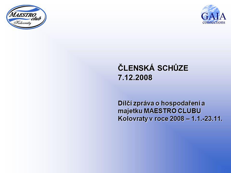 ČLENSKÁ SCHŮZE 7.12.2008 Dílčí zpráva o hospodaření a majetku MAESTRO CLUBU Kolovraty v roce 2008 – 1.1.-23.11.
