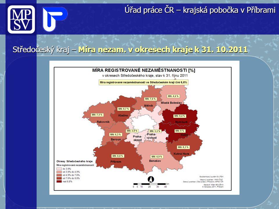 Středočeský kraj – Míra nezaměstnanosti a volná místa od roku 2009 Úřad práce ČR – krajská pobočka v Příbrami