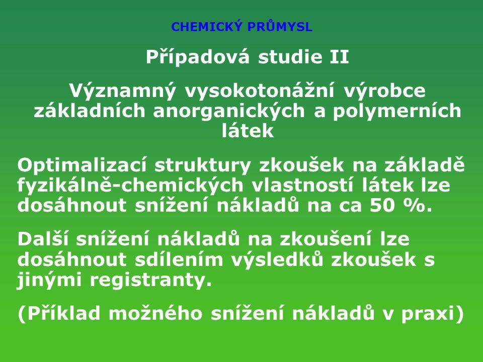 CHEMICKÝ PRŮMYSL Případová studie II Významný vysokotonážní výrobce základních anorganických a polymerních látek Optimalizací struktury zkoušek na základě fyzikálně-chemických vlastností látek lze dosáhnout snížení nákladů na ca 50 %.