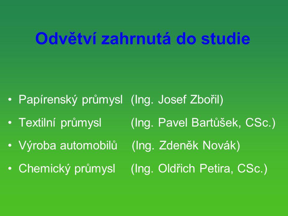Odvětví zahrnutá do studie Papírenský průmysl (Ing.