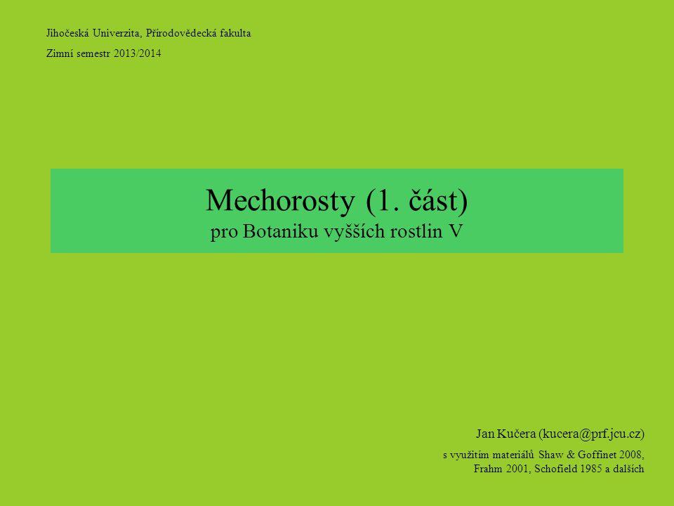 Jihočeská Univerzita, Přírodovědecká fakulta Zimní semestr 2013/2014 Jan Kučera (kucera@prf.jcu.cz) s využitím materiálů Shaw & Goffinet 2008, Frahm 2