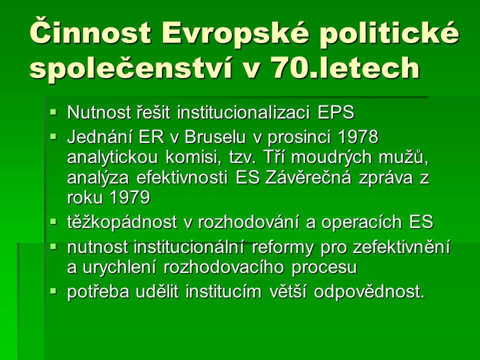 Činnost Evropské politické společenství v 70.letech  Nutnost řešit institucionalizaci EPS  Jednání ER v Bruselu v prosinci 1978 analytickou komisi, tzv.