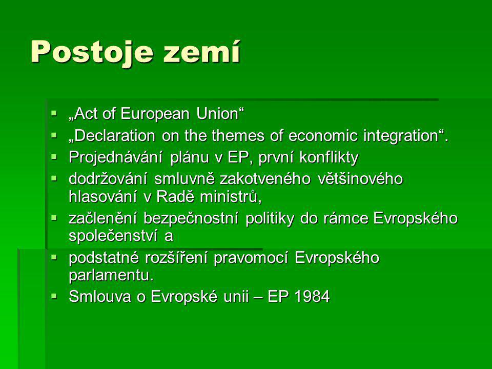"Postoje zemí  ""Act of European Union  ""Declaration on the themes of economic integration ."