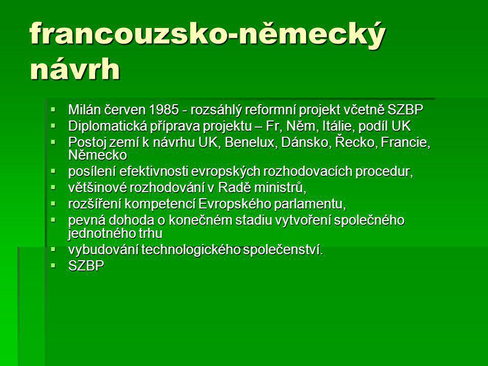 francouzsko-německý návrh  Milán červen 1985 - rozsáhlý reformní projekt včetně SZBP  Diplomatická příprava projektu – Fr, Něm, Itálie, podíl UK  Postoj zemí k návrhu UK, Benelux, Dánsko, Řecko, Francie, Německo  posílení efektivnosti evropských rozhodovacích procedur,  většinové rozhodování v Radě ministrů,  rozšíření kompetencí Evropského parlamentu,  pevná dohoda o konečném stadiu vytvoření společného jednotného trhu  vybudování technologického společenství.