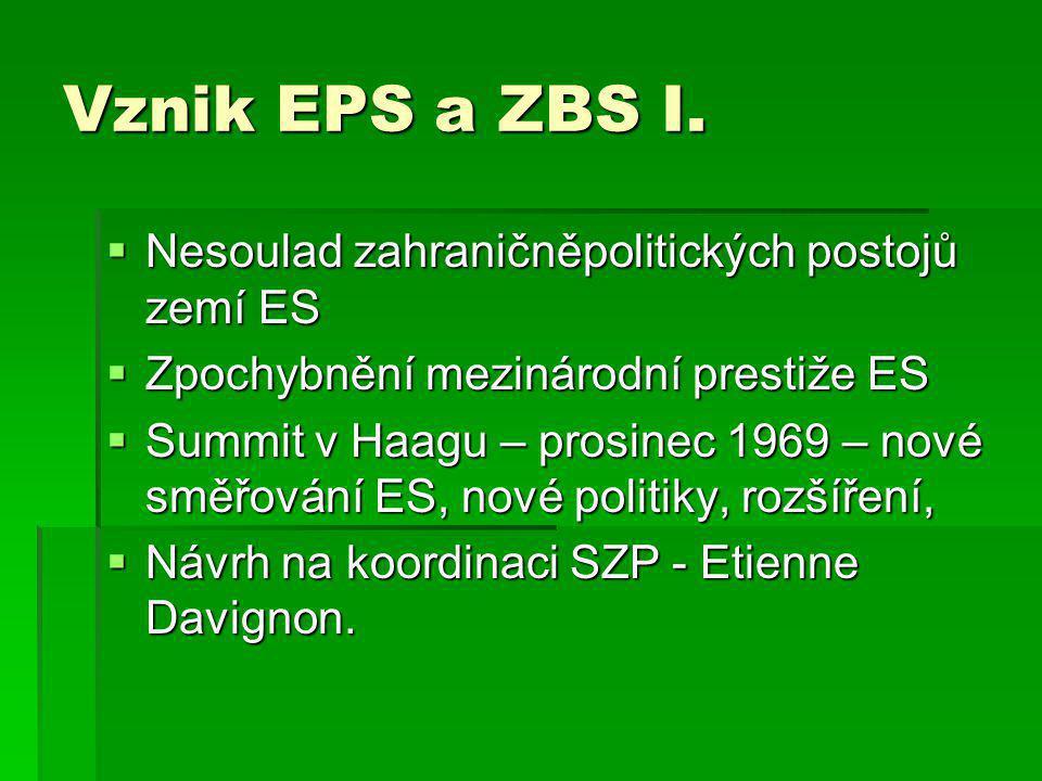 Vznik EPS a ZBS I.  Nesoulad zahraničněpolitických postojů zemí ES  Zpochybnění mezinárodní prestiže ES  Summit v Haagu – prosinec 1969 – nové směř