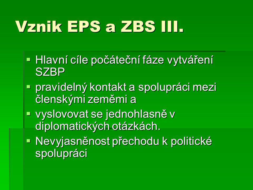 Vznik EPS a ZBS III.