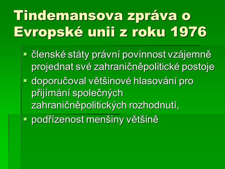 Tindemansova zpráva o Evropské unii z roku 1976  členské státy právní povinnost vzájemně projednat své zahraničněpolitické postoje  doporučoval většinové hlasování pro přijímání společných zahraničněpolitických rozhodnutí,  podřízenost menšiny většině
