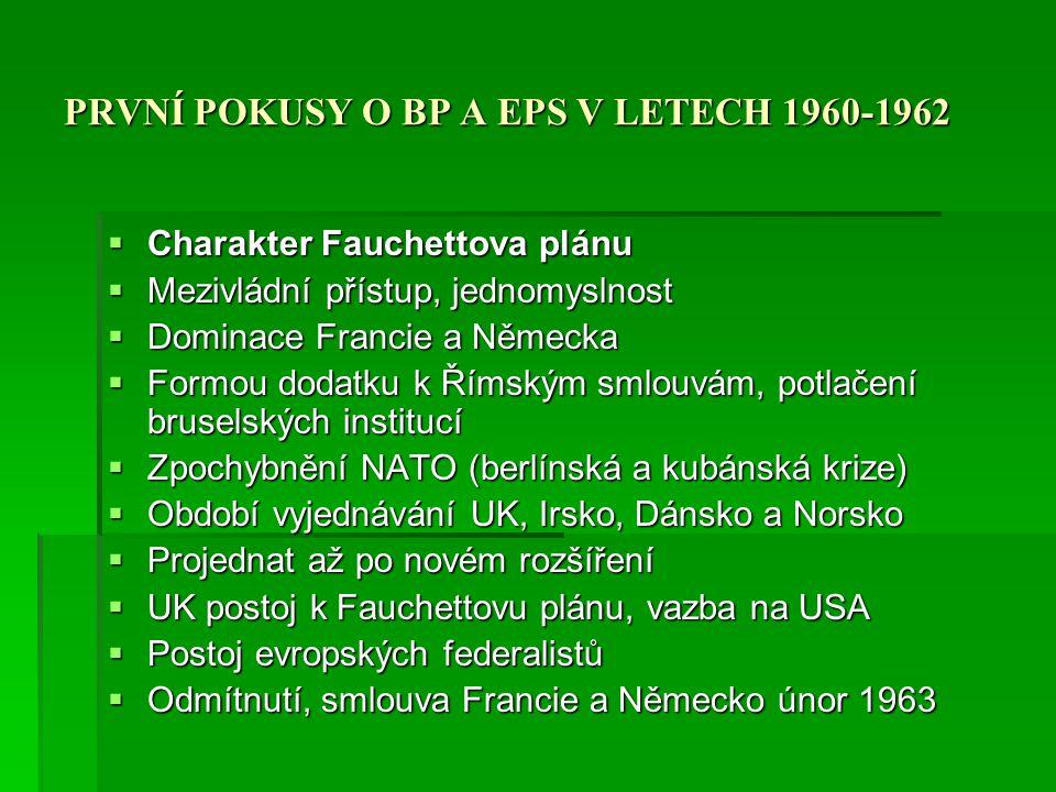 PRVNÍ POKUSY O BP A EPS V LETECH 1960-1962  Charakter Fauchettova plánu  Mezivládní přístup, jednomyslnost  Dominace Francie a Německa  Formou dod
