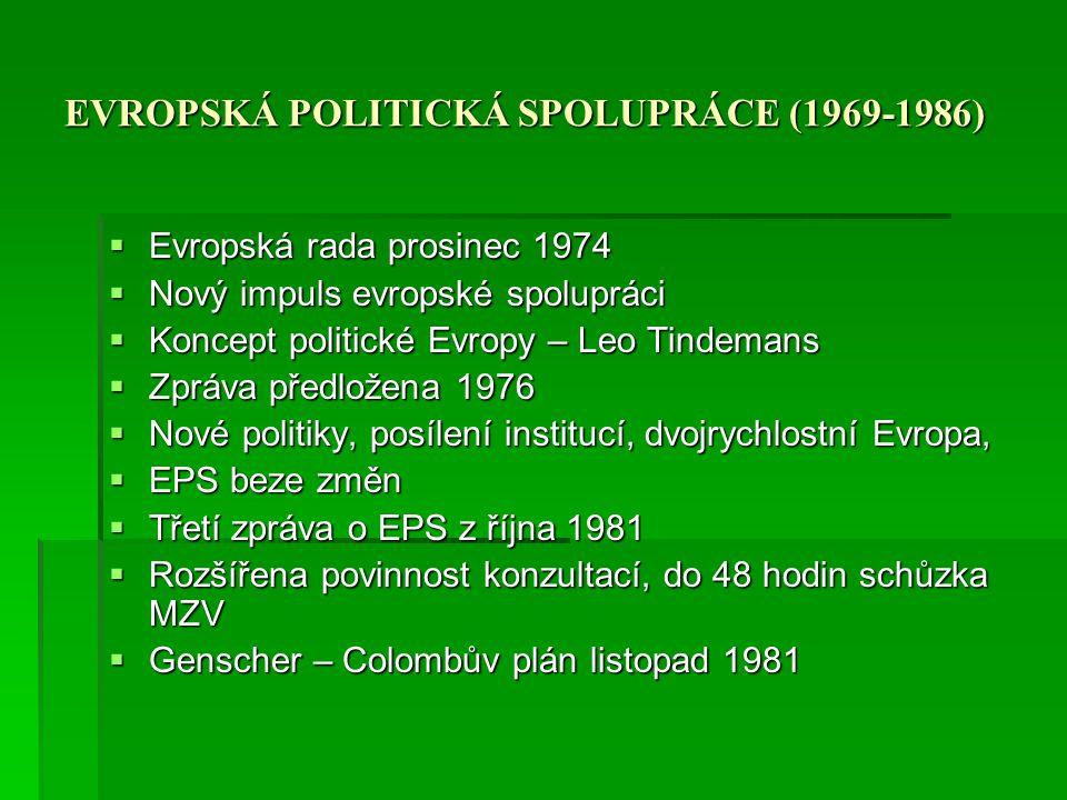 EVROPSKÁ POLITICKÁ SPOLUPRÁCE (1969-1986)  Evropská rada prosinec 1974  Nový impuls evropské spolupráci  Koncept politické Evropy – Leo Tindemans 