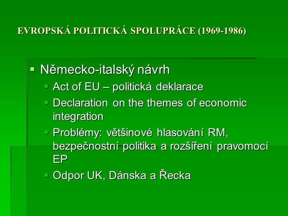 EVROPSKÁ POLITICKÁ SPOLUPRÁCE (1969-1986)  Německo-italský návrh  Act of EU – politická deklarace  Declaration on the themes of economic integratio