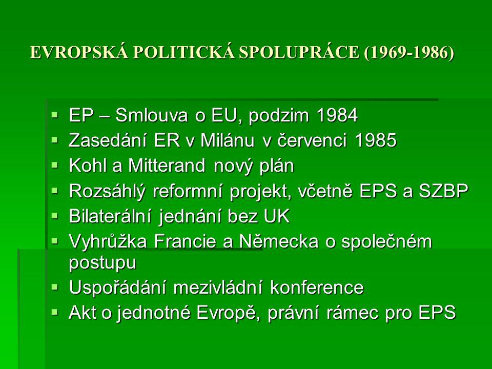 EVROPSKÁ POLITICKÁ SPOLUPRÁCE (1969-1986)  EP – Smlouva o EU, podzim 1984  Zasedání ER v Milánu v červenci 1985  Kohl a Mitterand nový plán  Rozsá