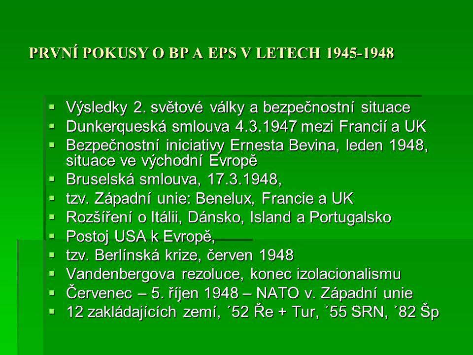 PRVNÍ POKUSY O BP A EPS V LETECH 1948-1954  Budování NATO  Problém Německa, 1949 nezávislost SRN (září) a NDR (říjen)  Korejská válka (červen 1950)  Spor o US jednotky v Evropě  Návrh ESUO, květen 1950  Rozpory kolem obnovení německé armády  Postoj USA, UK a Francie, New York (září 1950)  Americké ultimátum, konec září 1950