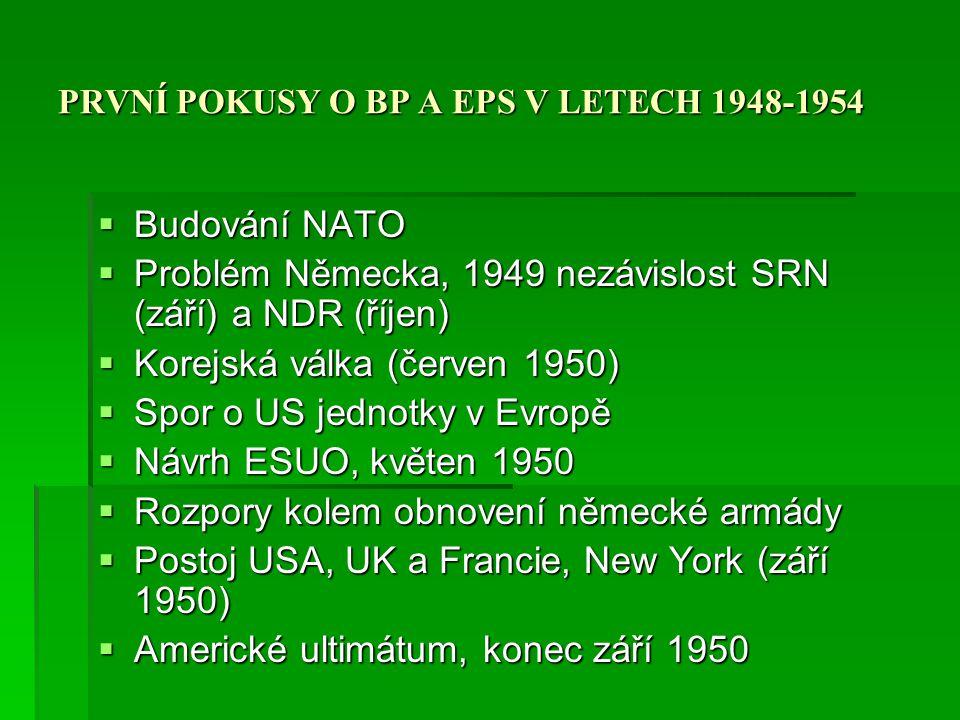 PRVNÍ POKUSY O BP A EPS V LETECH 1948-1954  Plevenův plán (říjen 1950) EOS  Společná armáda, velení, rozpočet a výstroj  100 tis, polovina Francouzi, včele velení francouzský generál  Postoj USA a UK, červenec 1951 oficiální US politika  EOS podepsaná 27.5.1952, bez UK, ale trojstranné smlouvy EOS-UK, EOS-USA  Charakter: společná armáda, RM, Výbor komisařů.