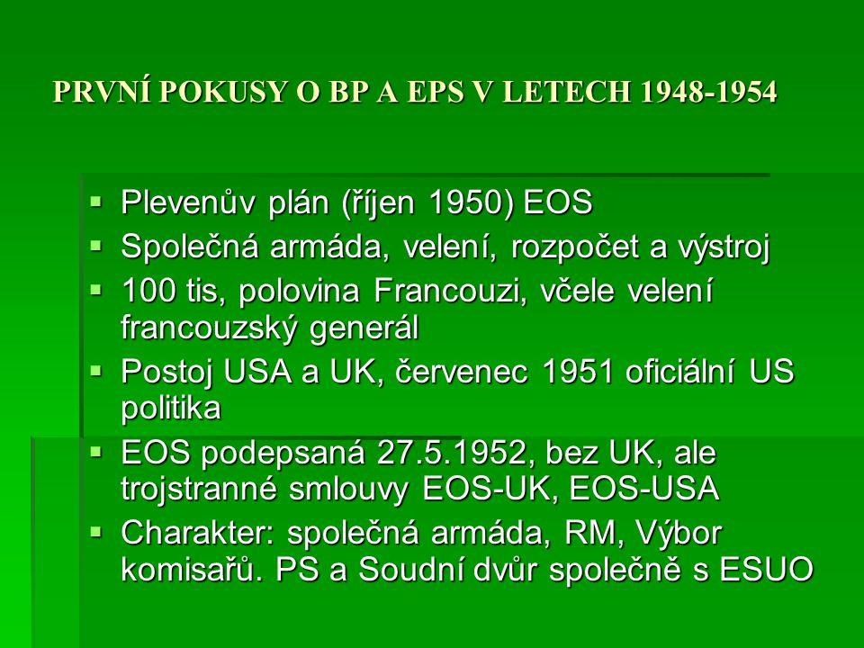 PRVNÍ POKUSY O BP A EPS V LETECH 1948-1954  Evropské politické společenství  Společná ZBP  Čl.