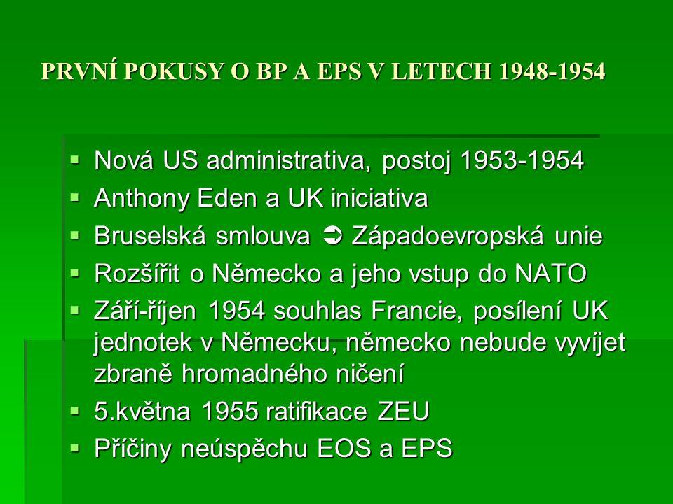 PRVNÍ POKUSY O BP A EPS V LETECH 1948-1954  Nová US administrativa, postoj 1953-1954  Anthony Eden a UK iniciativa  Bruselská smlouva  Západoevrop