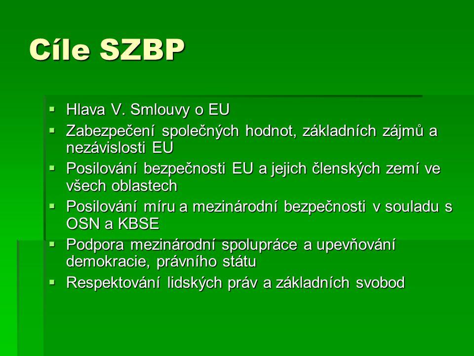Cíle SZBP  Hlava V. Smlouvy o EU  Zabezpečení společných hodnot, základních zájmů a nezávislosti EU  Posilování bezpečnosti EU a jejich členských z