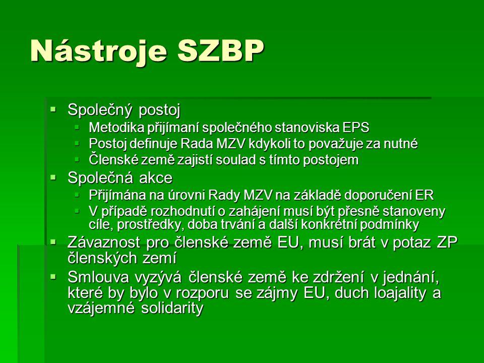 Nástroje SZBP  Společný postoj  Metodika přijímaní společného stanoviska EPS  Postoj definuje Rada MZV kdykoli to považuje za nutné  Členské země
