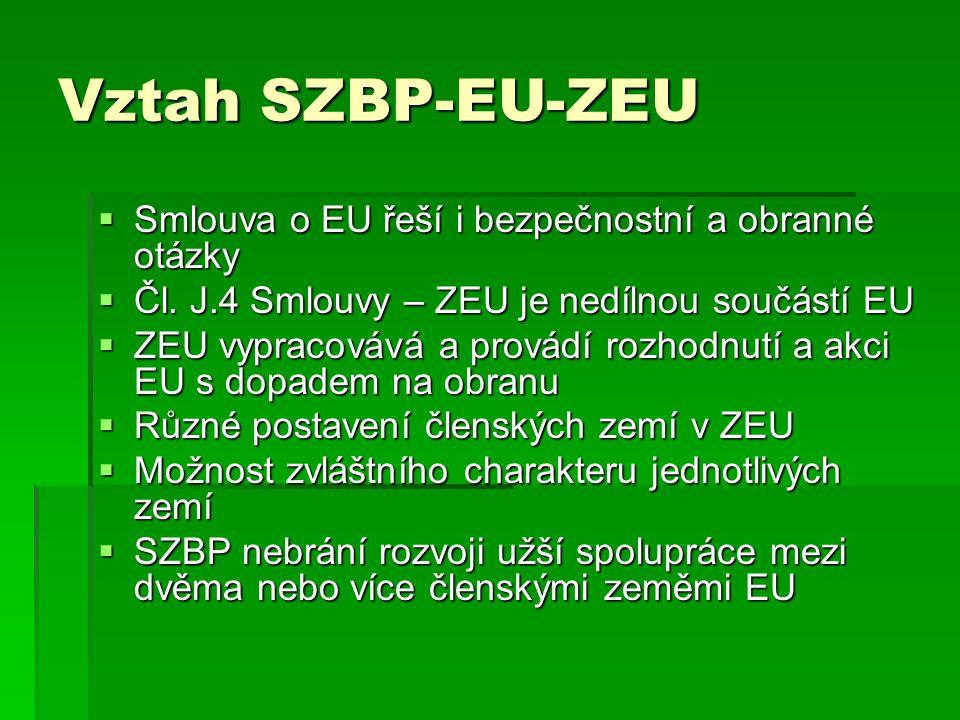 Vztah SZBP-EU-ZEU  Smlouva o EU řeší i bezpečnostní a obranné otázky  Čl. J.4 Smlouvy – ZEU je nedílnou součástí EU  ZEU vypracovává a provádí rozh