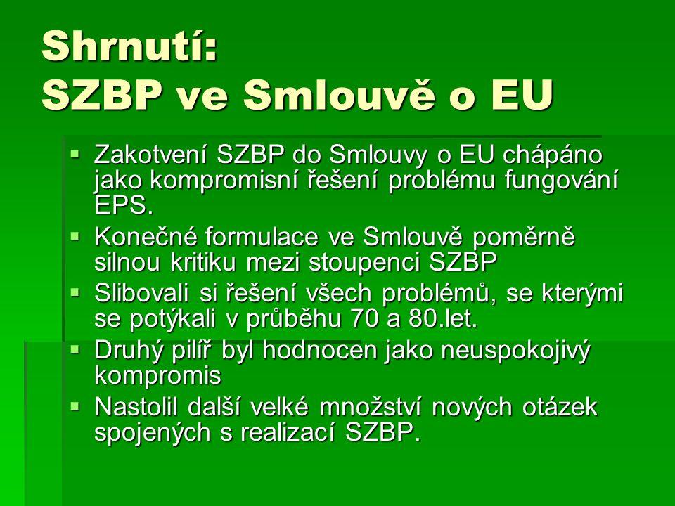 Shrnutí: SZBP ve Smlouvě o EU  Zakotvení SZBP do Smlouvy o EU chápáno jako kompromisní řešení problému fungování EPS.  Konečné formulace ve Smlouvě